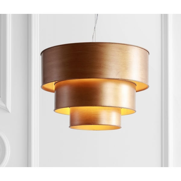 """Lynn 21"""" 3-Tier Metal LED Pendant, Gold by JONATHAN Y. Opens flyout."""