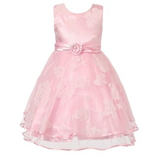 Richie House Girls' Sweet Party Dress with Flower Accents