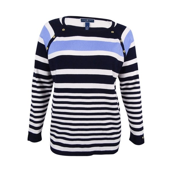dcfb911d7c407 Shop Karen Scott Women's Plus Size Striped Sweater (1X, Blue Finch Combo) -  blue finch combo - 1x - Free Shipping On Orders Over $45 - Overstock -  17247331