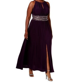 R&M Richards NEW Purple Womens Size 14W Plus Embellished Empire Dress