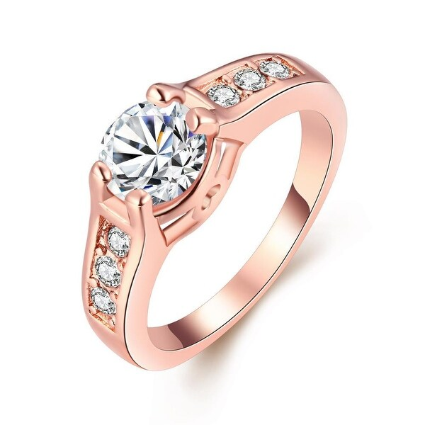 Rose Gold Plated Micro Pave Classic Ring