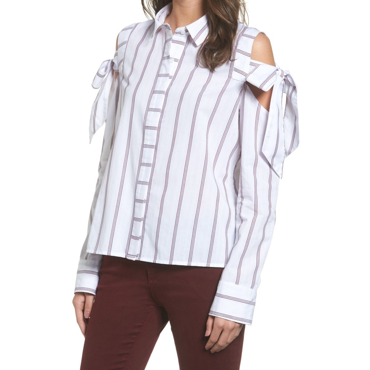 849e090bcf1c White Red Stripe Cold-Shoulder XXS Tie-Sleeve Button Down Shirt - On Sale -  Free Shipping On Orders Over $45 - Overstock - 22397778