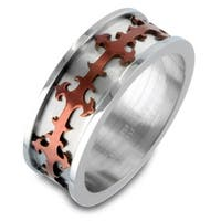 Stainless Steel Ring with Brown Plated Cross Cut-out Design 8mm (Sizes 8-13)