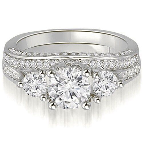 2.14 cttw. 14K White Gold Three-Stone Lucida Round Cut Diamond Bridal Set