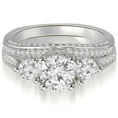 2.14 ct.tw 14K White Gold Three-Stone Lucida Round Cut Diamond Bridal Set HI, SI1-2