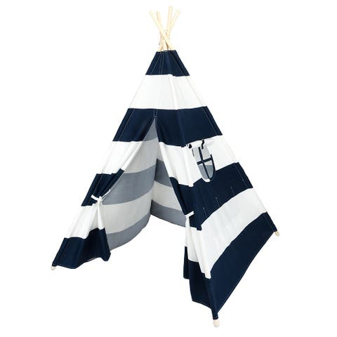 Wooden Poles Kids Playhouse Indian Canvas Teepee Play Tent Blue and White Stripes