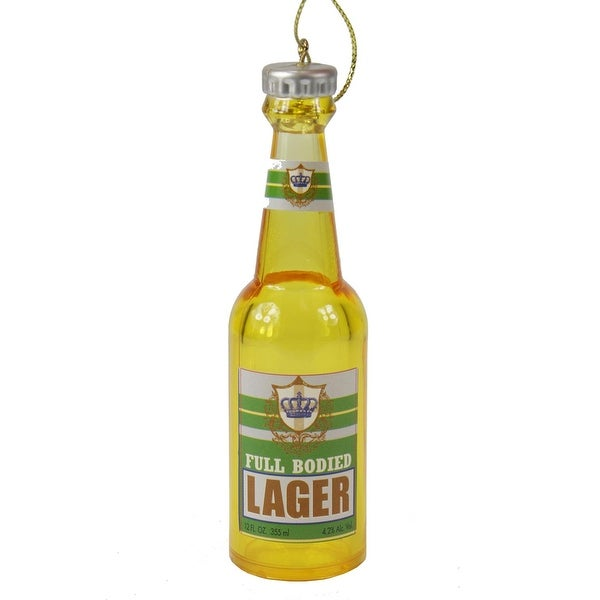 """4.25"""" Full Bodied Lager Bottle of Cheer Christmas Ornament - YELLOW"""