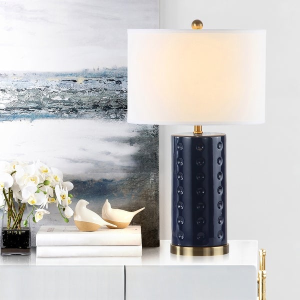 """SAFAVIEH Lighting 26-inch Navy Roxanne Table Lamp (Set of 2) - 15""""x15""""x26"""". Opens flyout."""