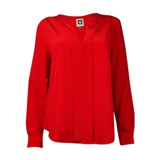 Anne Klein Women's Silk Long Sleeve Pullover Blouse (12, Vibrant Red) - Vibrant Red