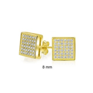 Bling Jewelry Gold Plated 925 Silver Micro Pave CZ Square Studs 8mm