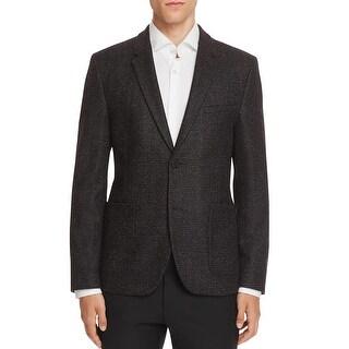 Hugo Boss Mens Agto Slim Crosshatch Wool Blend Sportcoat 38 Regular 38R Charcoal