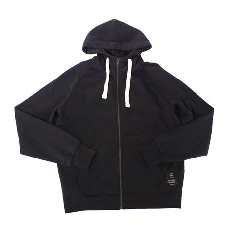 G-Star Raw Mens Sweater Deep Black Large L Drawstring Full Zip Hooded