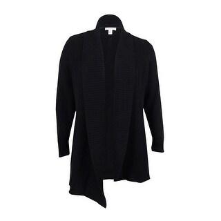 Charter Club Women's Plus Size Textured Open-Front Cardigan (0X, Deep Black)