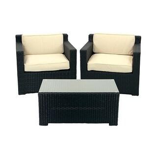 3-Piece Black Resin Wicker Outdoor Patio Furniture Set - Beige Cushions