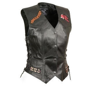 Ladies Leather Biker Vest W/ 9 Patches (Option: Small)