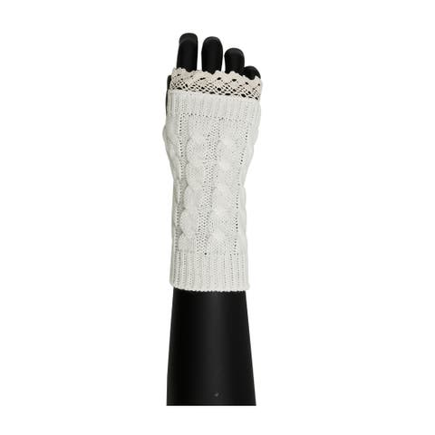 Unisex Winter Lace Warmers Ribbing Knitted Thumb Hole Gloves White 1 Pair