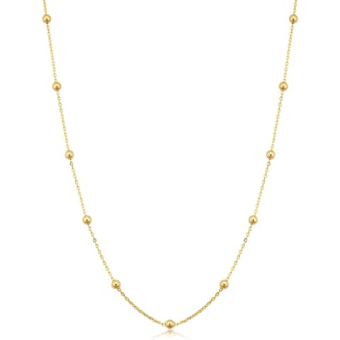 14k Yellow Gold Filled 3 millimeter Ball Station Satellite Necklace For Women (16, 18, 20, 24 or 30 inches)