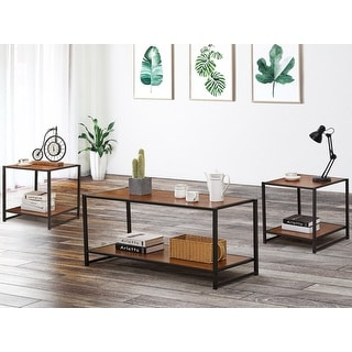VECELO Coffee Table/End Table/Table Sets Wood Finish (set of 3)