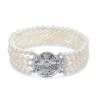 Link to Vintage Style Strand Twist White Freshwater Cultured Pearl Bracelet Similar Items in Bracelets