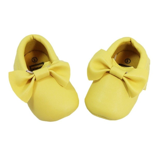 Baby Girls Yellow Bow Faux Leather Moccasin Soft Sole Crib Shoes 6-12M