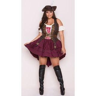 Plus Size Hoty Swashbuckler Costume - Burgundy/Brown - 2x