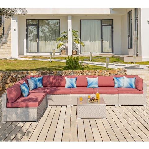 COSIEST Patio Furniture 8 Piece Beige Wicker Sectional Sofa Set