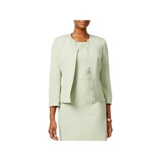 Kasper Womens Collarless Blazer 3/4 Sleeves Crepe