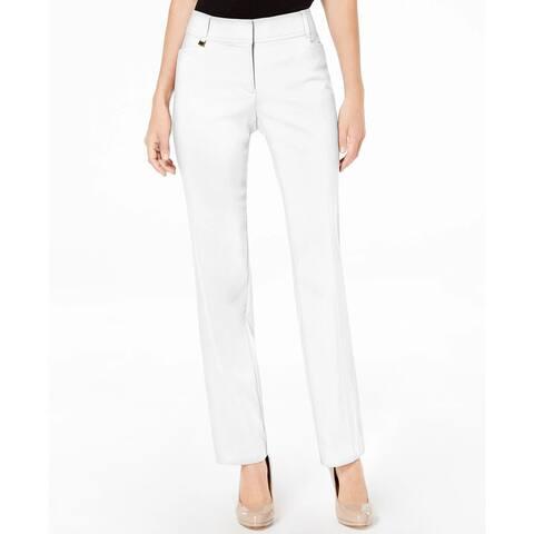 """JM Collection Women's Short Length Curvy-Fit Slim-Leg Pants Size 6"""" - White"""