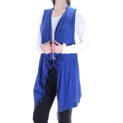 BASS Womens Blue Pleated Fringed Sleeveless Open Sweater Size: M