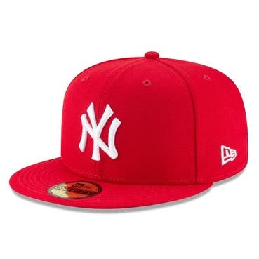 New Era Mens New York Yankees Mlb Authentic Collection 59Fifty Cap, Scarlet/White