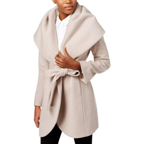 T Tahari Womens Marla Wrap Coat Winter Wool Blend