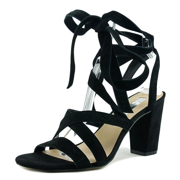 INC International Concepts Kailey Women Open Toe Leather Black Sandals