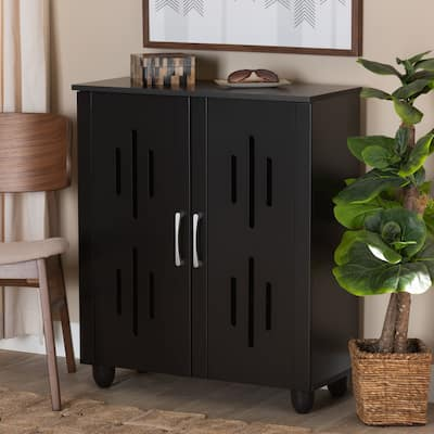 Renley Modern 2-Door Shoe Storage Wood Cabinet in Espresso Brown