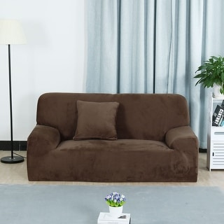 L Shaped Stretch Sofa Covers Chair Couch For 1 2 3 Seater Coffee Color