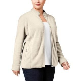 Karen Scott Womens Plus Jacket Fleece Long Sleeves