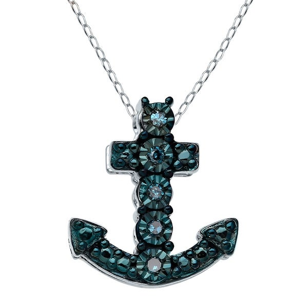 Petite Anchor Pendant with Blue Diamonds in Sterling Silver