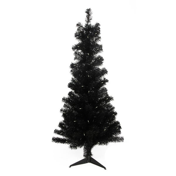 "4' x 29"" Pre-Lit Slim Black Artificial Tinsel Christmas Tree- Clear Lights"