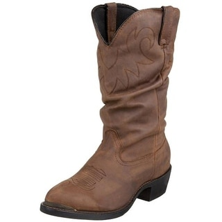 Durango Mens Leather Slouchy Cowboy, Western Boots - 9 extra wide (ee)