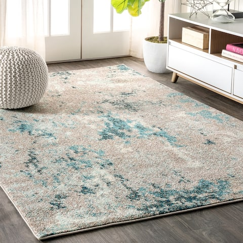 Contemporary POP Modern Abstract Vintage Faded Grey/Blue Area Rug