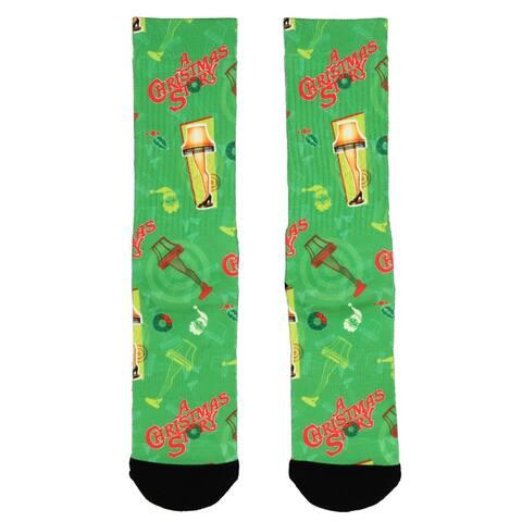 A Christmas Story Leg Lamp Sublimated All Over Print Crew Socks