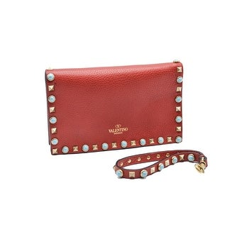 """Valentino Womens Red Turqouise Rockstuds Flap Clutch - 8.3"""" x 5"""""""