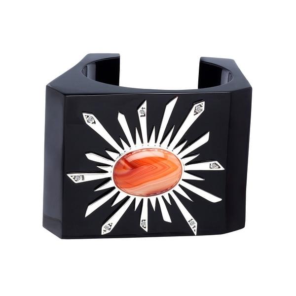 Orange Agate Solstice Bangle Bracelet in Sterling Silver