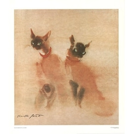 ''Siamese Cats'' by Kaiko Moti Asian Art Print (28 x 24 in.)