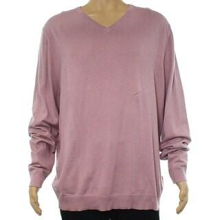 Alfani Pink Mens Size Medium M Slim Fit V-Neck Mauve Shadow Sweater