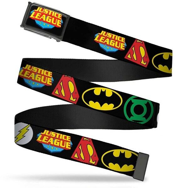 Justice League Shield Fcg Black Blue Red Yellow Chrome Justice League Web Belt
