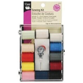 Sewing Kit- Dritz 12 Spools Polyester Thread Needles Cushion Thimble Storage Box