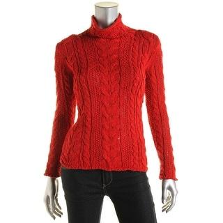 LRL Lauren Jeans Co. Womens Cable Knit Mock Turtleneck Pullover Sweater