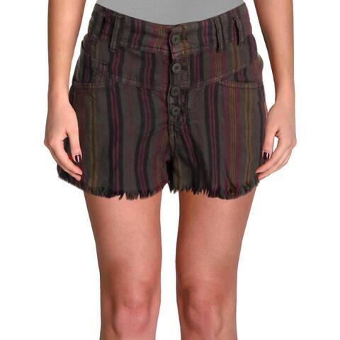 Free People Womens High-Waist Shorts Linen Striped