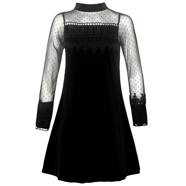 Shop Rare Editions Girls Black Lace Trim A-Line Long Sleeve Christmas Dress - Free Shipping On Orders Over $45 - Overstock - 18842380