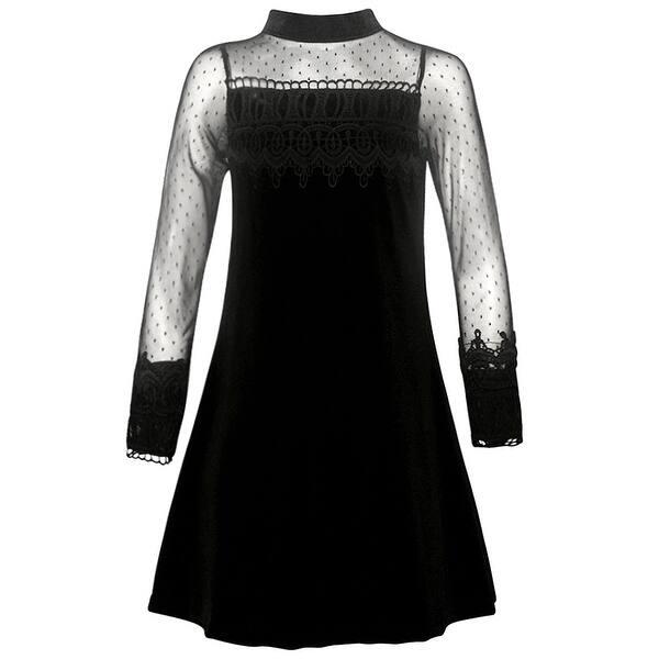 Rare Editions Christmas Dresses.Rare Editions Girls Black Lace Trim A Line Long Sleeve Christmas Dress